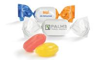 Werbe-Bonbons mit Logo im weißen Wickler