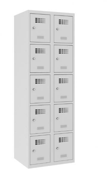 Schließfachschrank - 2 Abteile - 10 Fächer - 1800x600x500 mm (HxBxT)