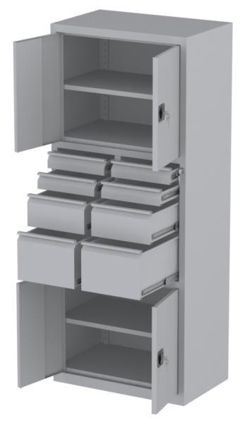 Werkstattschrank - 4 Fächer und 2 + 2 + 4 Schubladen - 1950x1000x500 mm (HxBxT)