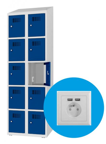 Schließfachschrank - 2 Abteile - 10 Fächer - mit Steckdose/USB - 1800x600x500 mm (HxBxT)