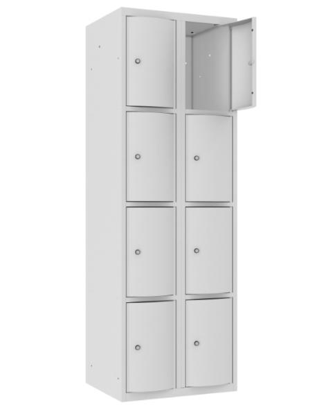 Schließfachschrank - 2 Abteile - 8 Fächer - mit abgerundeter Tür - 1800x600x500 mm (HxBxT)