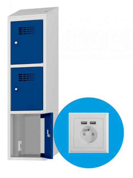 Schließfachschrank - 1 Abteil - 3 Fächer - mit Steckdose/USB - 1800x300x500 mm (HxBxT)