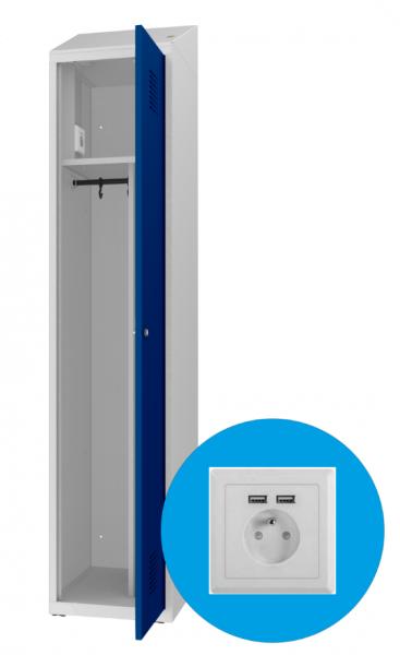 Spind - 1 Abteil - mit Steckdosen/USB - Trennwand - 1800x400x500 mm (HxBxT)