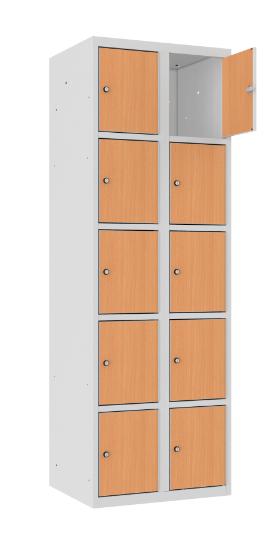 Schließfachschrank - 2 Abteile - 10 Fächer - MDF Tür - 1800x600x500 mm (HxBxT)
