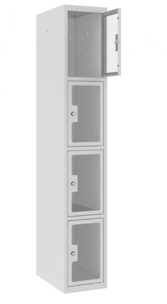 Schließfachschrank - 1 Abteil - 4 Fächer - Plexiglas Tür - 1800x300x500 mm (HxBxT)