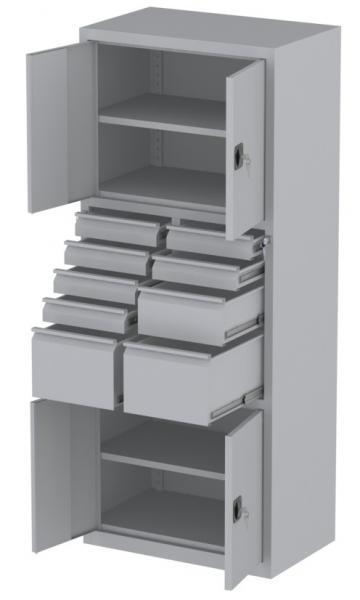 Werkstattschrank - 4 Fächer und 2 + 1 + 6 Schubladen - 1950x1000x500 mm (HxBxT)