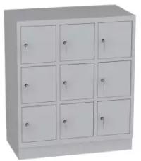 Schließfachschrank, Kindergartenschrank - 3 Abteile - 9 Fächer - 1053x900x480 mm (HxBxT)