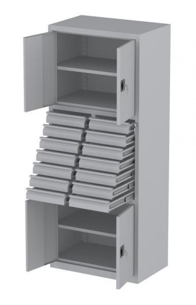 Werkstattschrank - 4 Fächer und 14 Schubladen - 1950x1000x500 mm (HxBxT)