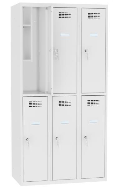 Schließfachschrank - 3 Abteile - 6 Fächer - mit Bücherregal - 1800x1200x500 mm (HxBxT)