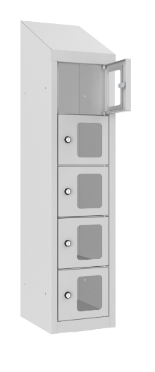 Schließfach/Kantinenschrank - 1 Abteil - 5 Fächer - mit Plexi-Tür - 1090x240x300 mm (HxBxT)
