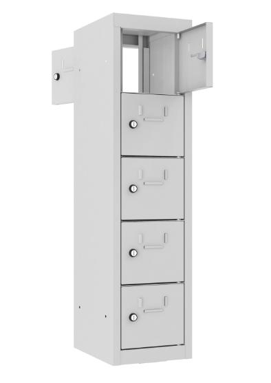 Schließfach/Kantinenschrank - 1 Abteil - 5 Fächer - mit Durchgang - 940x240x300 mm (HxBxT)