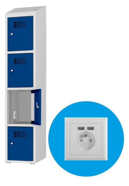 Schließfachschrank - 1 Abteil - 4 Fächer - mit Steckdose/USB - 1800x400500 mm (HxBxT)