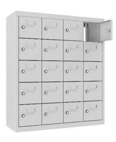 Schließfach/Kantinenschrank - 4 Abteile - 20 Fächer - mit Durchgang - 940x810x300 mm (HxBxT)