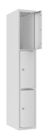 Schließfachschrank - 1 Abteil - 3 Fächer - mit abgerundeter Tür - 1800x300x500 mm (HxBxT)
