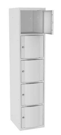 Schließfachschrank - 1 Abteil - 5 Fächer - mit abgerundeter Tür - 1800x400x500 mm (HxBxT)