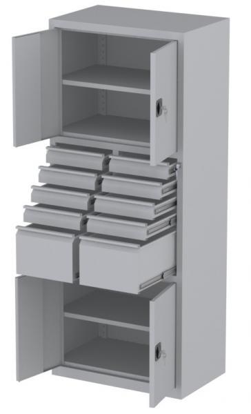 Werkstattschrank - 4 Fächer und 2 + 8 Schubladen - 1950x1000x500 mm (HxBxT)