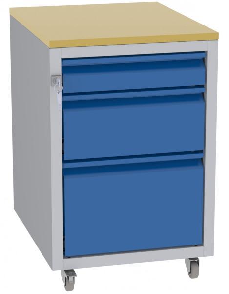 Werkstatttisch, Rollcontainer - 1 + 1 + 1 Schublade - 675x450x555 mm (HxBxT) - Typ D