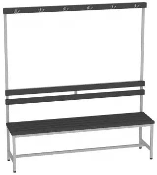Sitzbank mit Kunststofflatten mit Lehne - 1615x1500x375 (HxBxT)