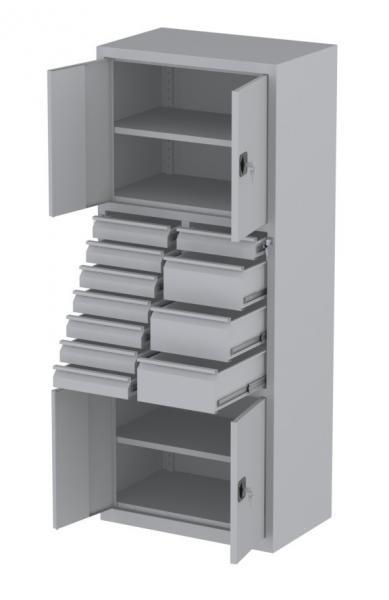 Werkstattschrank - 4 Fächer und 3 + 8 Schubladen - 1950x1000x500 mm (HxBxT)