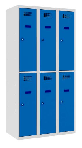 Garderobenschrank - 3 Abteile - 6 Fächer - 1800x900x500 mm (HxBxT)