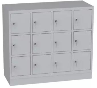 Schließfachschrank, Kindergartenschrank - 4 Abteile - 12 Fächer - 1053x1190x480 mm