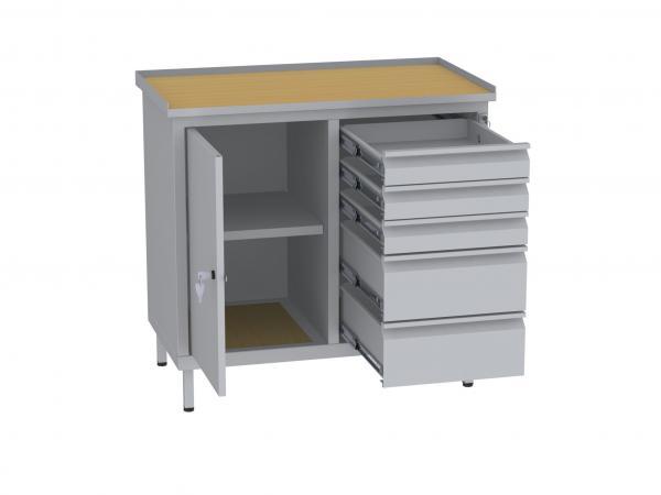 Werkstattschrank, niedrig - 2 Fächer und 2 + 3 Schubladen - 850x900x505 mm (HxBxT)