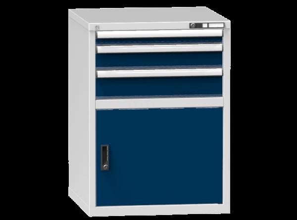 Schubladenschrank - Standcontainer - 1+1+1 Schublade, 1x Tür 550mm - 990x731x753 mm (HxBxT)