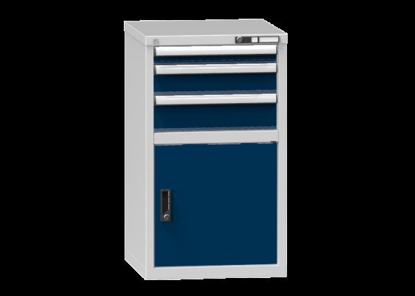 Schubladenschrank - Standcontainer - 1+1+1 Schublade, 1x Tür 550mm - 990x578x600 mm (HxBxT)