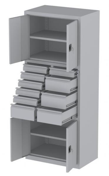 Werkstattschrank - 4 Fächer und 4 + 6 Schubladen - 1950x1000x500 mm (HxBxT)