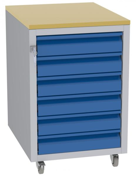 Werkstatttisch, Rollcontainer - 6 Schubladen - 675x450x555 mm (HxBxT) - Typ I