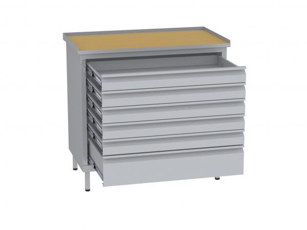 Werkstattschrank, niedrig - 1 + 5 Schubladen - 850x900x505 mm (HxBxT)