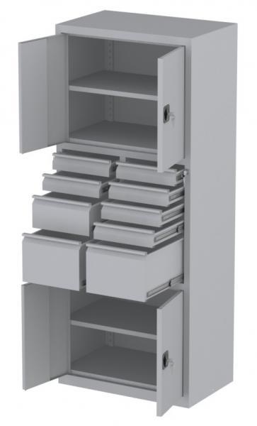 Werkstattschrank - 4 Fächer und 2 + 6 + 1 Schubladen - 1950x1000x500 mm (HxBxT)