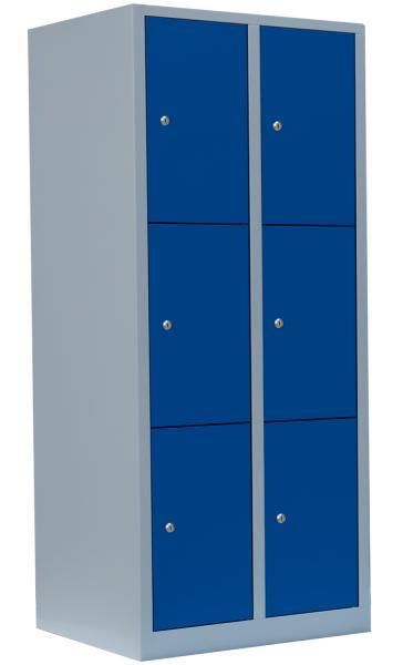 Schließfachschrank - 2 Abteile - 6 Fächer - 1800x800x500 mm (HxBxT)