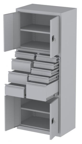 Werkstattschrank - 4 Fächer und 1 + 5 + 3 Schubladen - 1950x1000x500 mm (HxBxT)