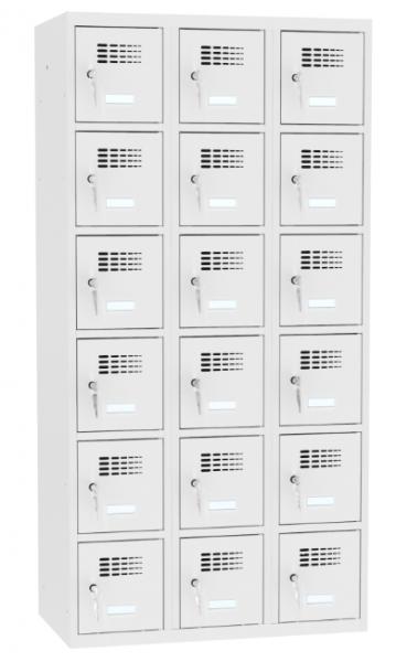Schließfachschrank - 3 Abteile - 18 Fächer - 1800x900x500 mm (HxBxT)