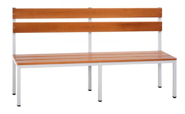 Sitzbank mit Rückenlehne - lichtgrau/buche - verschiedene Größen