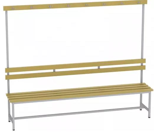Bank mit Holzlatten und Lehne - 1615x2000x375 mm (HxBxT)
