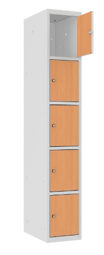 Schließfachschrank - 1 Abteil - 5 Fächer - MDF Tür - 1800x300x500 mm (HxBxT)