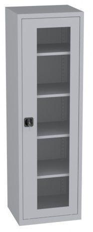 Büroschrank mit Plexiglastüren - 4 Einlegeböden - 1950x600x500 mm (HxBxT)