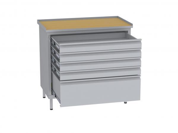 Werkstattschrank, niedrig - 1 + 4 Schubladen - 850x900x505 mm (HxBxT)