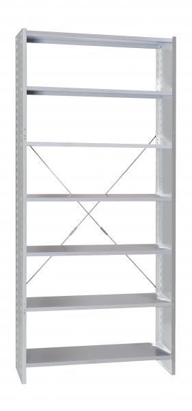 Grundregal - Stecksystem - 7 Fachböden - lichtgrau