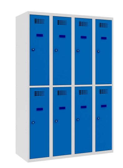 Garderobenschrank - 4 Abteile - 8 Fächer - 1800x1200x500 mm (HxBxT)