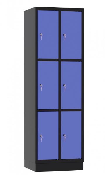 Schließfachschrank - 2 Abteile - 6 Fächer - 1950x610x480 mm (HxBxT)