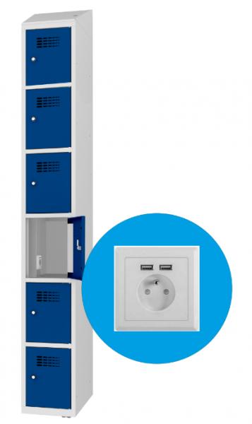 Schließfachschrank - 1 Abteil - 6 Fächer - mit Steckdose/USB - 1800x300x500 mm (HxBxT)