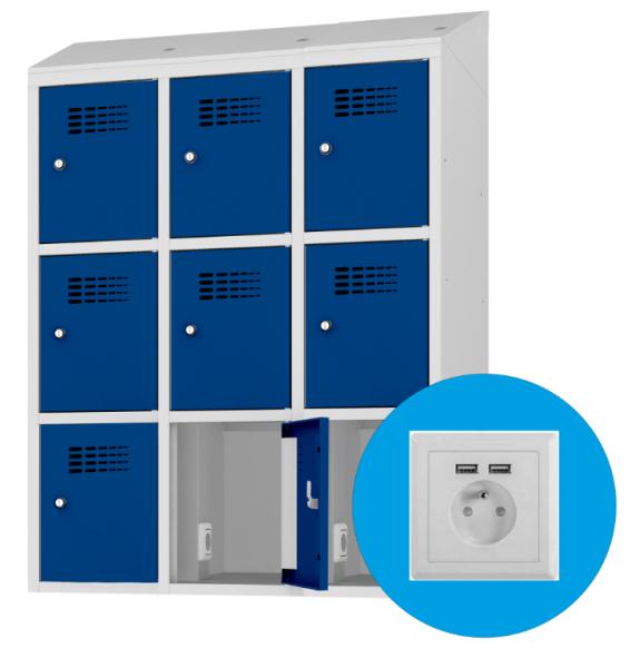 Schließfachschrank - 3 Abteile - 9 Fächer - mit Steckdose/USB - 1800x1200x500 mm (HxBxT)