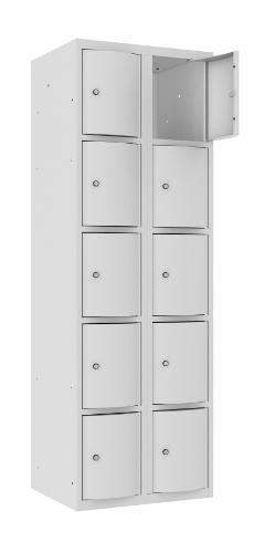 Schließfachschrank - 2 Abteile - 10 Fächer - mit abgerundeter Tür - 1800x600x500 mm (HxBxT)