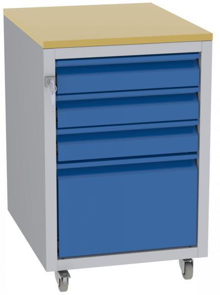 Werkstatttisch, Rollcontainer - 1 + 3 Schublade - 675x450x555 mm (HxBxT) - Typ G