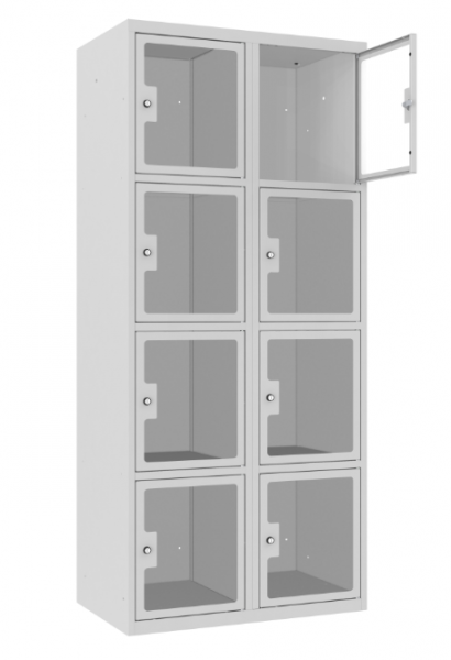 Schließfachschrank - 2 Abteile - 8 Fächer - Plexiglas Tür - 1800x800x500 mm (HxBxT)