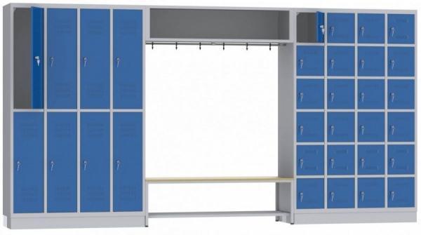 offene Garderobe mit Sitzbank - 32 Fächer - 1950x2635x480 mm (BxHxT)
