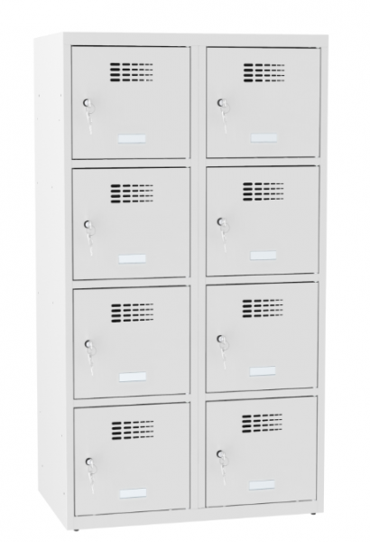 Schließfachschrank - 2 Abteile - 8 Fächer - for young people - 1450x800x500 mm (HxBxT)